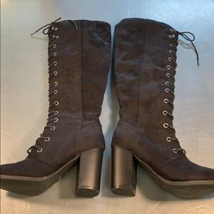 Shoes - Knee high stacked heel lace up boots